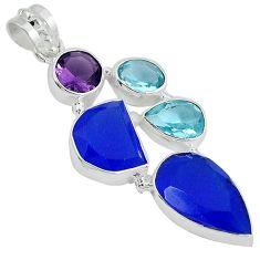 925 sterling silver blue jade topaz quartz amethyst pendant jewelry j27804