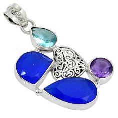 Blue jade topaz quartz 925 sterling silver filigree heart pendant jewelry j27805