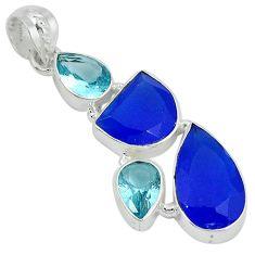 925 sterling silver blue jade topaz quartz pendant jewelry j27806