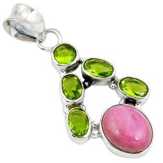 Natural pink rhodolite peridot 925 sterling silver pendant jewelry j28288