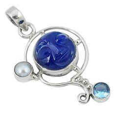 Blue jade moon face topaz pearl 925 sterling silver pendant jewelry j29921