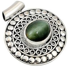 4.01cts green cats eye oval cab 925 sterling silver pendant jewelry j30213