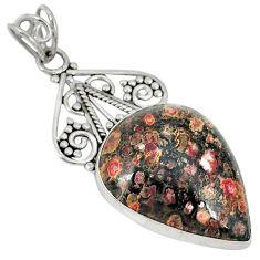 Natural brown leopard skin jasper 925 sterling silver pendant jewelry j30241