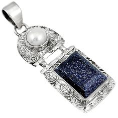 Natural blue goldstone white pearl 925 sterling silver pendant jewelry j30571