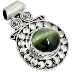 4.05cts green cats eye oval cab 925 sterling silver pendant jewelry j34009