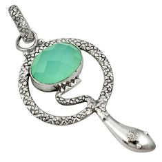 Natural aqua chalcedony 925 sterling silver snake pendant jewelry j35161