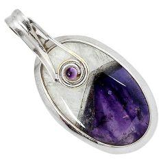 Natural purple chevron amethyst amethyst 925 silver pendant jewelry j39637