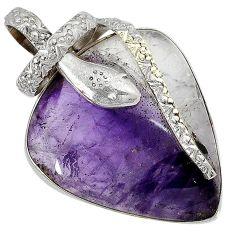 Natural purple chevron amethyst 925 silver snake pendant jewelry j39639