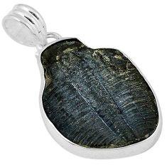 Natural black trilobite fancy 925 sterling silver pendant jewelry j39798