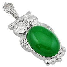 Green jade oval shape 925 sterling silver owl pendant jewelry j39883