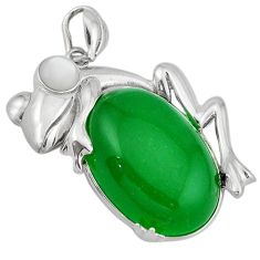 Green jade oval white pearl 925 sterling silver frog pendant jewelry j39896