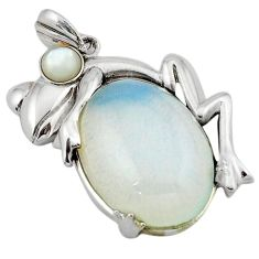 Natural white opalite oval 925 sterling silver frog pendant jewelry j39900