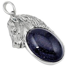Natural blue goldstone oval 925 sterling silver horse pendant jewelry j39920