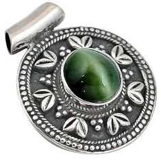 Green cats eye oval shape 925 sterling silver pendant jewelry j41381