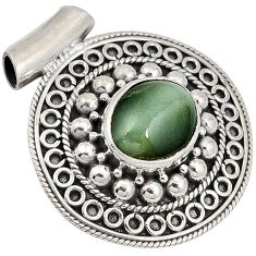 Green cats eye oval 925 sterling silver pendant jewelry j41383
