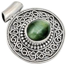 Green cats eye oval shape 925 sterling silver pendant jewelry j41387