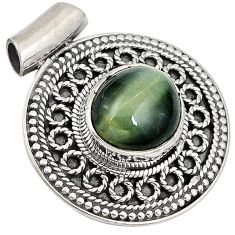 Green cats eye oval 925 sterling silver pendant jewelry j41388