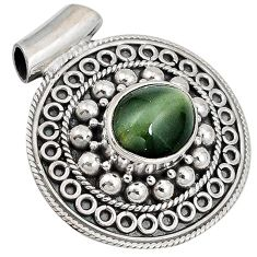 Green cats eye oval 925 sterling silver pendant jewelry j41390