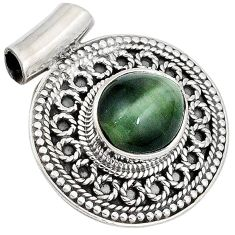 Green cats eye oval 925 sterling silver pendant jewelry j41391