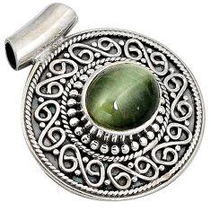 Green cats eye oval 925 sterling silver pendant jewelry j41393
