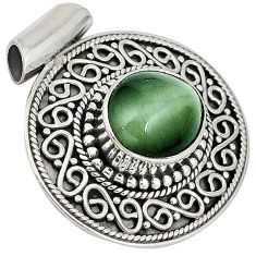 Green cats eye oval shape 925 sterling silver pendant jewelry j41907