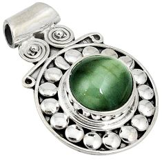 Green cats eye round shape 925 sterling silver pendant jewelry j41909
