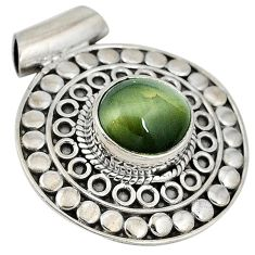 925 sterling silver green cats eye oval shape pendant jewelry j41915