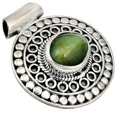 925 sterling silver green cats eye oval shape pendant jewelry j41919