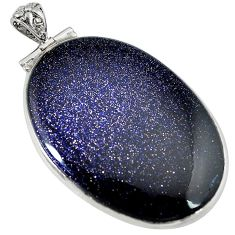 Natural blue goldstone oval 925 sterling silver pendant jewelry j43224