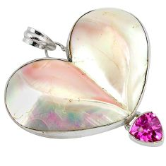 Natural white mother of pearl heart kunzite (lab) 925 silver pendant j43228