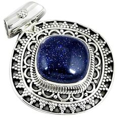Natural blue goldstone 925 sterling silver pendant jewelry j48692