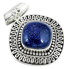 Natural blue goldstone 925 sterling silver pendant jewelry j48710