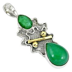 Victorian green jade chalcedony 925 sterling silver two tone pendant j48869