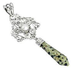 925 sterling silver natural brown dalmatian white pearl pendant jewelry j49066