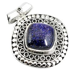 Natural blue goldstone 925 sterling silver pendant jewelry j50662