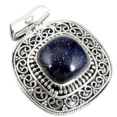 925 sterling silver natural blue goldstone pendant jewelry j50663