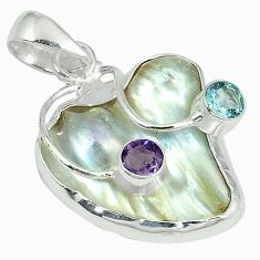 Natural white mother of pearl fancy purple amethyst 925 silver pendant k10307