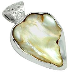 Natural white mother of pearl fancy 925 sterling silver pendant jewelry k10312