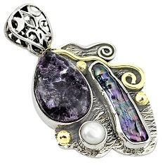 Victorian natural purple chevron amethyst 925 silver two tone pendant k17762