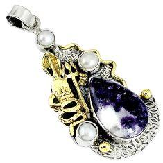 Natural purple chevron amethyst 925 silver victorian snake pendant k19875