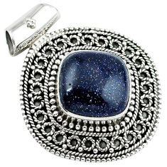 Natural blue goldstone 925 sterling silver pendant jewelry k32729