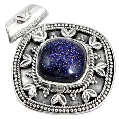 Natural blue goldstone 925 sterling silver pendant jewelry k34231