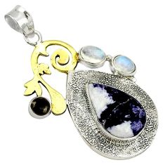 Victorian natural purple chevron amethyst 925 silver two tone pendant k37022