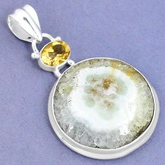 Natural white solar eye yellow citrine 925 sterling silver pendant k37434