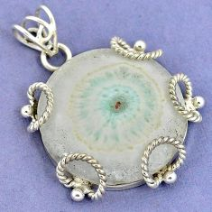 925 sterling silver natural white solar eye round pendant jewelry k37553