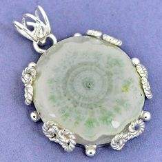 Natural white solar eye 925 sterling silver pendant jewelry k37556