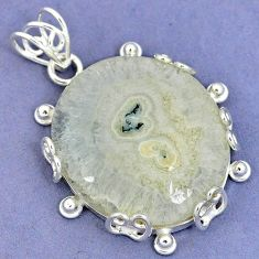 Natural white solar eye 925 sterling silver pendant jewelry k37557