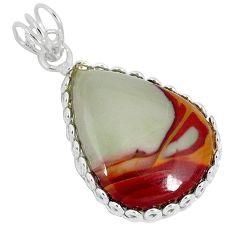Natural brown noreena jasper pear 925 sterling silver pendant jewelry k37587