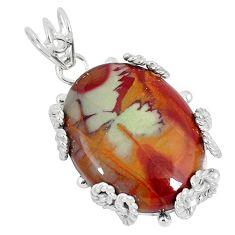 Natural brown noreena jasper 925 sterling silver pendant jewelry k37596