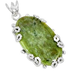 Natural green serpentine 925 sterling silver pendant jewelry k37621